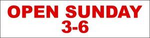 Open Sunday 3-6